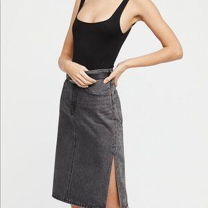Free People Side Slit Levi's Denim Skirt